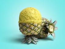 concetto moderno della bugia della palla del gelato dell'ananas della crema A del gelato alla frutta Immagini Stock
