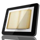 Concetto moderno delle biblioteche - libro aperto sullo schermo di computer della compressa fotografie stock
