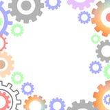 Concetto moderno di industriale del meccanismo Modello poligonale degli ingranaggi di tecnologia illustrazione vettoriale