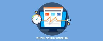 Concetto moderno di ottimizzazione di velocità del sito Web, velocità di caricamento del sito Web di spinta del razzo Insegna pia royalty illustrazione gratis