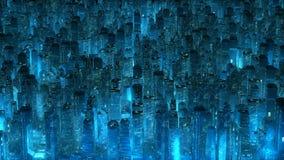 Concetto moderno di tecnologia dei grattacieli al neon blu della città Immagine Stock Libera da Diritti