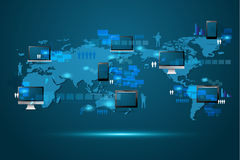 Concetto moderno di tecnologia di affari globali di vettore Fotografia Stock Libera da Diritti