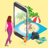 Concetto moderno di vettore di viaggio, prenotando online, progettante le vacanze estive Prenotazione di hotel della località di  Fotografia Stock