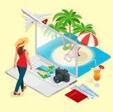 Concetto moderno di vettore di viaggio, prenotando online, progettante le vacanze estive Prenotazione di hotel della località di  Fotografie Stock Libere da Diritti