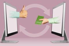 Concetto moderno, due mani dai monitor pollici su, come e passaporto illustrazione 3D Immagine Stock
