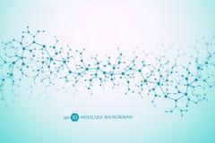 Concetto molecolare dei neuroni e del sistema nervoso Ricerca medica scientifica Struttura della molecola con le particelle scien illustrazione vettoriale