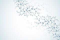 Concetto molecolare dei neuroni e del sistema nervoso Ricerca medica scientifica Struttura della molecola con le particelle scien royalty illustrazione gratis
