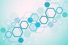 Concetto molecolare dei neuroni e del sistema nervoso Ricerca medica scientifica Struttura della molecola con le particelle scien illustrazione di stock
