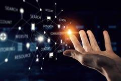 Concetto mondiale di tecnologia di mezzi d'informazione Media misti Fotografia Stock