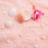 Concetto morbido della stazione termale con la fucsia rosa delicata del fiore, conchiglie Fotografia Stock