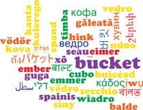Concetto multilingue del fondo del wordcloud del secchio Fotografia Stock Libera da Diritti
