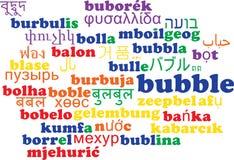 Concetto multilingue del fondo del wordcloud della bolla Immagini Stock Libere da Diritti