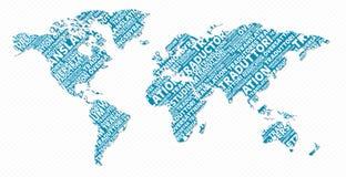 Concetto multilingue della mappa di mondo di traduzione Immagini Stock