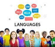 Concetto multilingue di lingue di saluti Fotografia Stock Libera da Diritti