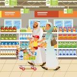Concetto musulmano di vettore del fumetto di acquisto della famiglia illustrazione vettoriale