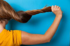 Concetto naturale dei capelli, problema di danno Capelli lunghi spaccati fotografia stock