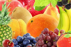 Concetto naturale sano fresco dell'alimento del fondo misto di frutti Immagine Stock Libera da Diritti