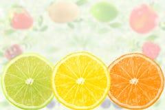 Concetto naturale sano fresco dell'alimento di frutti del fondo misto della fetta Immagine Stock