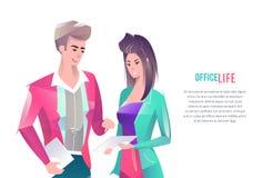 Concetto nello stile piano con gli impiegati di concetto illustrazione vettoriale