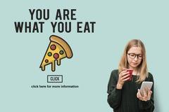 Concetto non sano del grasso di calorie degli spuntini degli alimenti a rapida preparazione dell'icona della pizza Fotografie Stock Libere da Diritti