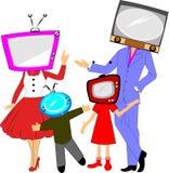 Concetto 'nucleo familiare' della TV Immagini Stock