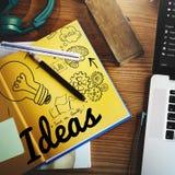 Concetto obiettivo di missione di piano di sviluppo di visione di idea di idee immagini stock