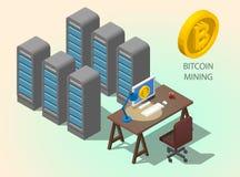concetto online del bitcoin di estrazione mineraria del computer isometrico 3d Simbolo dorato di Bitcoin della moneta Immagini Stock