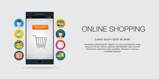 Concetto online del cellulare di commercio elettronico di acquisto Immagine Stock Libera da Diritti