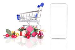 Concetto online del mercato dell'acquisto di Smartphone Smartphone e un negozio illustrazione vettoriale