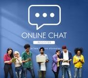 Concetto online del messaggio di conversazione di comunicazione di chiacchierata Immagini Stock