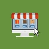 Concetto online del negozio, illustrazione del deposito di Internet di commercio elettronico Immagini Stock Libere da Diritti