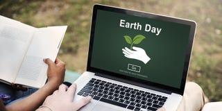Concetto online del sito Web ambientale di conservazione di giornata per la Terra immagini stock libere da diritti