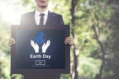 Concetto online del sito Web ambientale di conservazione di giornata per la Terra fotografie stock
