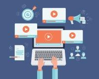 Concetto online del video contenuto di vendita di affari Fotografia Stock