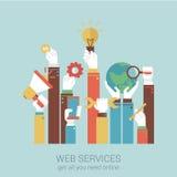 Concetto online dell'illustrazione di vettore di stile del piano di servizi di Internet Fotografie Stock Libere da Diritti