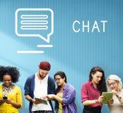 Concetto online della parte del blog di comunicazione di chiacchierata Immagini Stock Libere da Diritti
