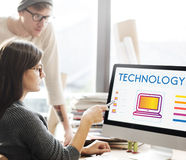 Concetto online della rete di Internet di tecnologia Fotografie Stock