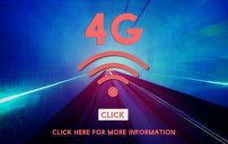 concetto online della rete senza fili di Internet 4G Immagini Stock
