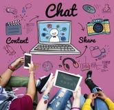 Concetto online della rete sociale di tecnologia della comunicazione di chiacchierata Fotografia Stock Libera da Diritti