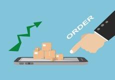 Concetto online di acquisto di commercio elettronico di affari Fotografia Stock Libera da Diritti