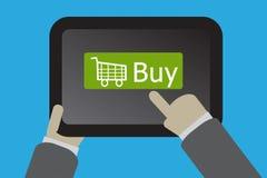 Concetto online di acquisto facendo uso di un computer della compressa Immagini Stock
