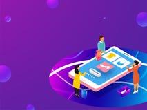 Concetto online di acquisto, illustrazione 3D del cellulare app di acquisto illustrazione di stock