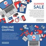 Concetto online di acquisto Oggetti ed insegna online del deposito tabella royalty illustrazione gratis