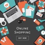 Concetto online di acquisto Oggetti ed insegna online del deposito Tabella con il computer portatile, i sacchetti della spesa, le illustrazione di stock
