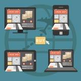 Concetto online di acquisto sul computer, sul taccuino, sullo smartphone e sui tum illustrazione di stock