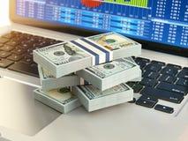 Concetto online di affari del mercato azionario Pacchetto del dollaro sul computer portatile K Fotografia Stock