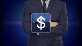 Concetto online di affari di acquisto che seleziona uomo d'affari che preme, paga del dollaro del segno illustrazione vettoriale