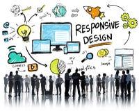 Concetto online di affari di progettazione di web rispondente di Internet immagini stock