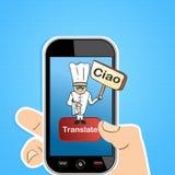 Concetto online di app di traduzione Fotografie Stock Libere da Diritti