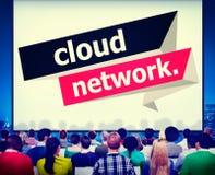 Concetto online di calcolo di stoccaggio della rete della nuvola Fotografia Stock